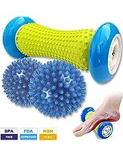 Foot Massage Roller and 2 Spiky Balls, Massage Ball Set (3 Pieces) for Plantar Fasciitis, Massager for Heel Spur, Sore Muscles, Trigger Point - Back, Arm, Neck, Shoulder, Legs Circulation Roller - Spike Massager