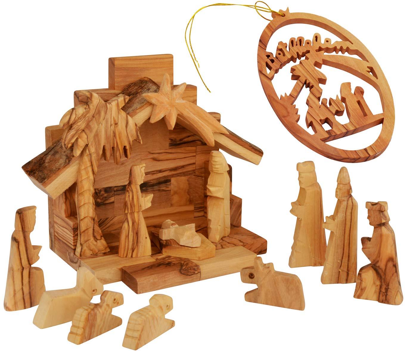 The Jerusalem Gift Shop Olive Wood Nativity Set with Olive Wood Figurines Made in Bethlehem - Including Christmas Tree Decoration