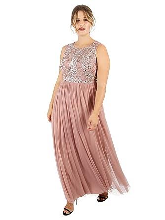 3c70d617d3 Lovedrobe Luxe Womens Plus Size Mauve Keyhole Back Embellished Maxi Dress  (30)  Amazon.co.uk  Clothing
