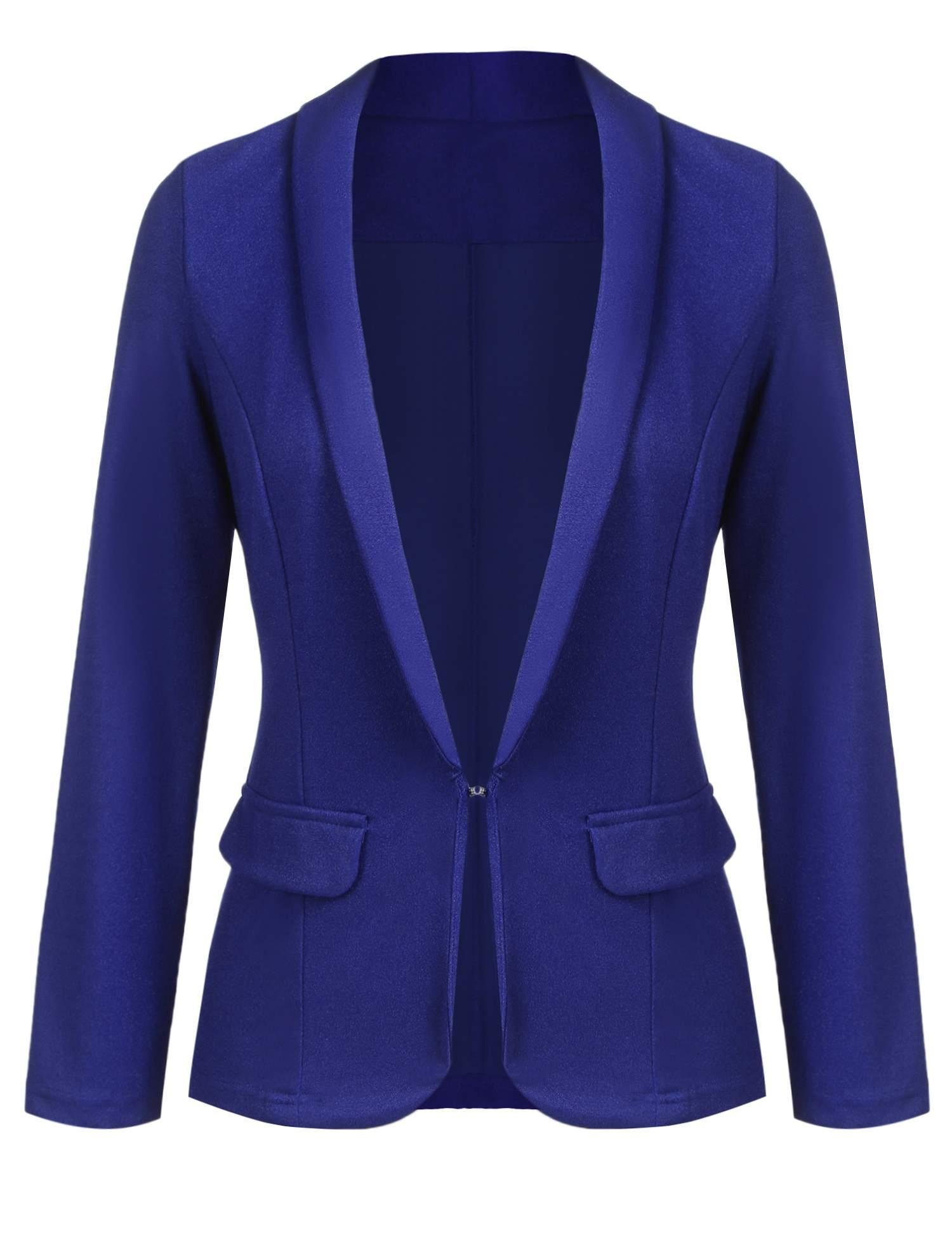 Yealsha Womens Casual Lightweight Long Sleeve Fitted Open Blazer Jacket Plus Size