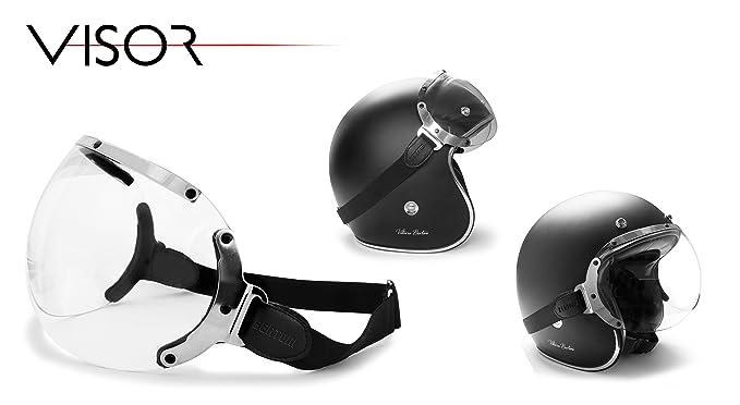 Visera para casco Jet - elastico regulable - perfil de acero cromo - by Bertoni Visor: Amazon.es: Coche y moto