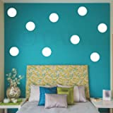 Polka Dot Circles vinyl wall pattern decals (10x10 set of 12, White)