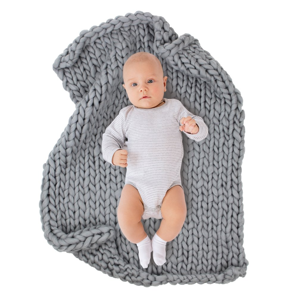 ICOSY Chunky Knit Blanket Newborn Knit Blanket Yoga Bulky Knitted Baby Shower Gift Pet Bed Chair Sofa Pad Baby Photo Prop Mat Rug Throw(Grey, 31.5''x23.6'')