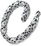 Stainless Steel Men's Biker Mechanic Link Bracelet 23cm