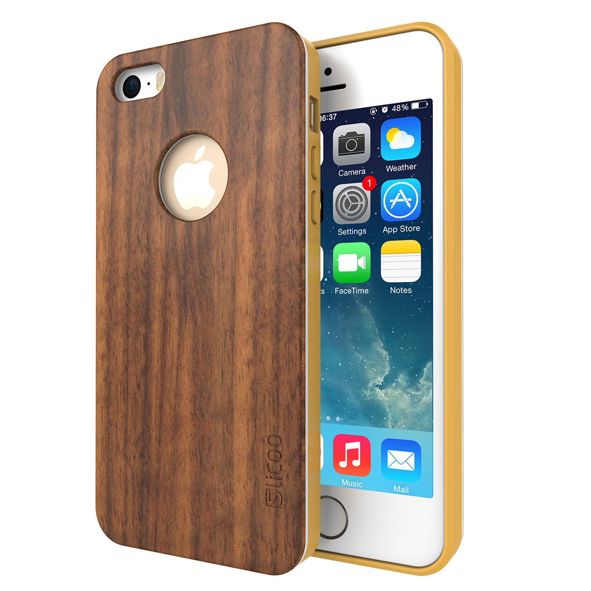 Iphone 5S Case Slicoo Nature Series Bamboo Wood Slim Covering Case For Iphone.. 12