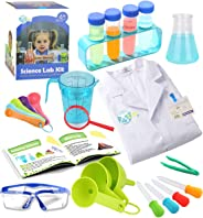 UNGLINGA Kids Science Experiment Kit with Lab Coat Scientist Costume Dress Up and Role Play Toys Gift for Boys Girls Kids Ag