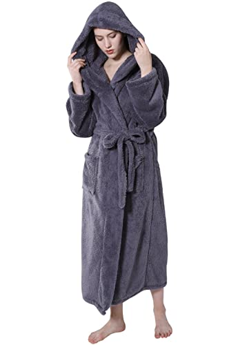 7d249a2782 Best maintenance is available with wash in machine and drier can be used  for drying. 4. vislivin Womens Long Plush Flannel Robe Hooded Long Bathrobe