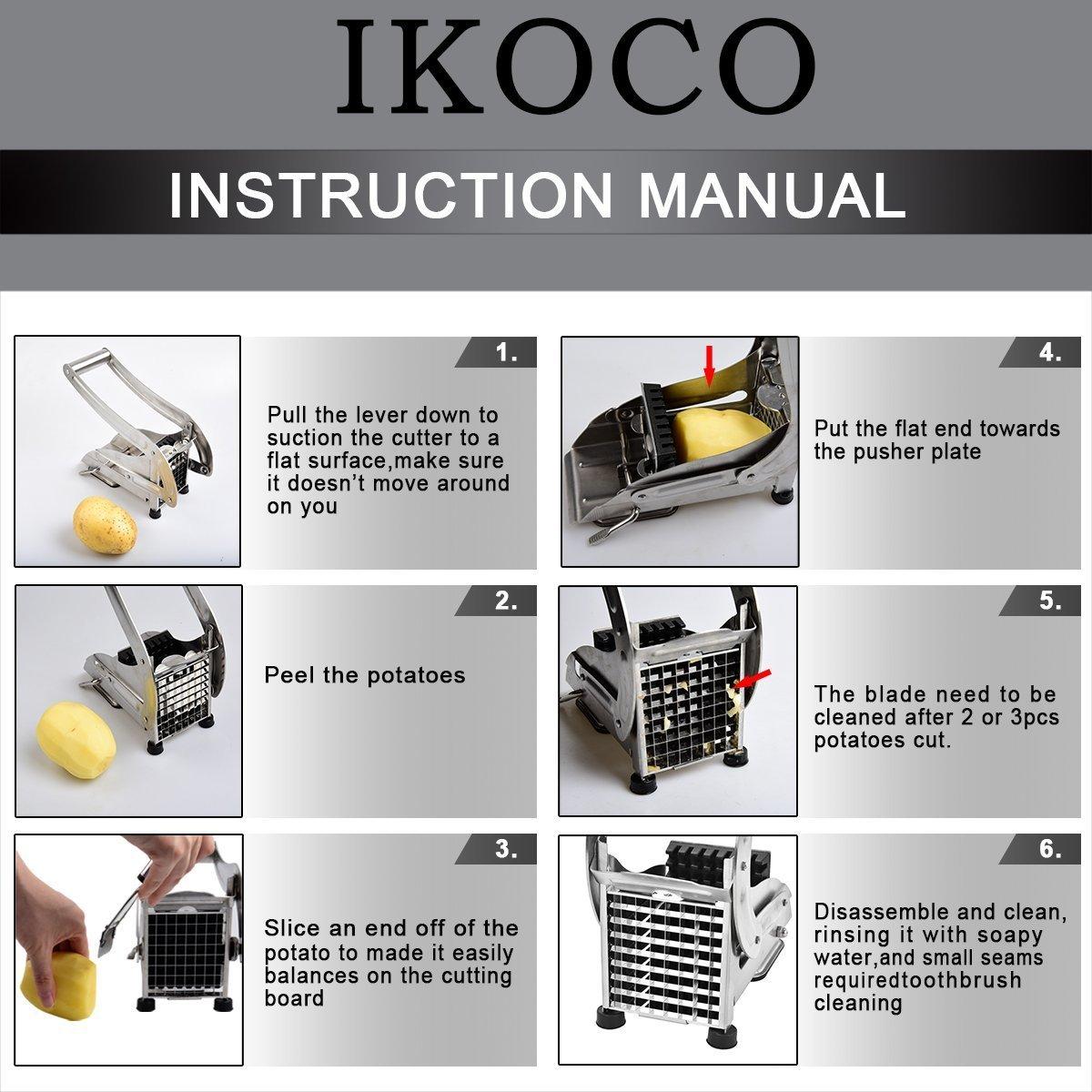 Amazon.com: Cortador de patatas fritas IKOCO, cortador de ...