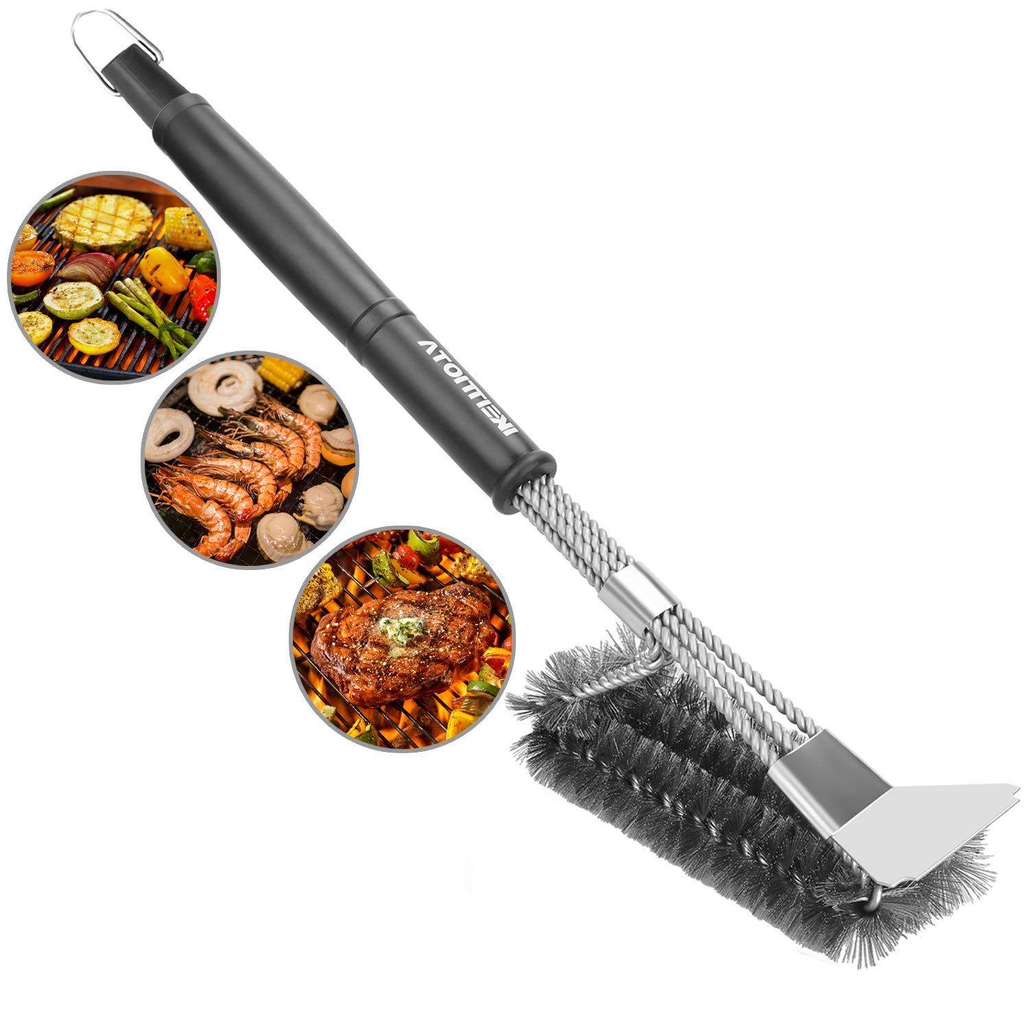 "BBQ Grill Brush Strong Scraper, 3-in-1 Stainless Steel Bristle, 18"" Brush Handle with Durable Twisted Wires for Effortless Cleaning, Best Alternative Gift for people love Barbecues IKEITTIOTA"