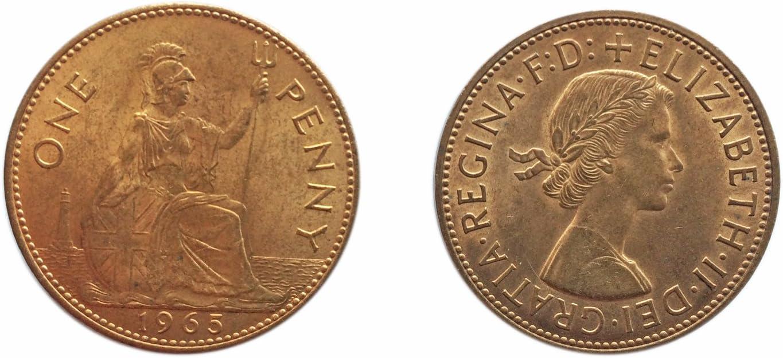 Monedas para coleccionistas británicos fuera de circulación - 1965 Penny / 1 Pence Coin / Gran Bretaña: Amazon.es: Juguetes y juegos