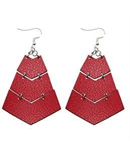 Layered Leather Earrings Handcrafted Unique Geometric Jewelry for Women (triangle-Red)
