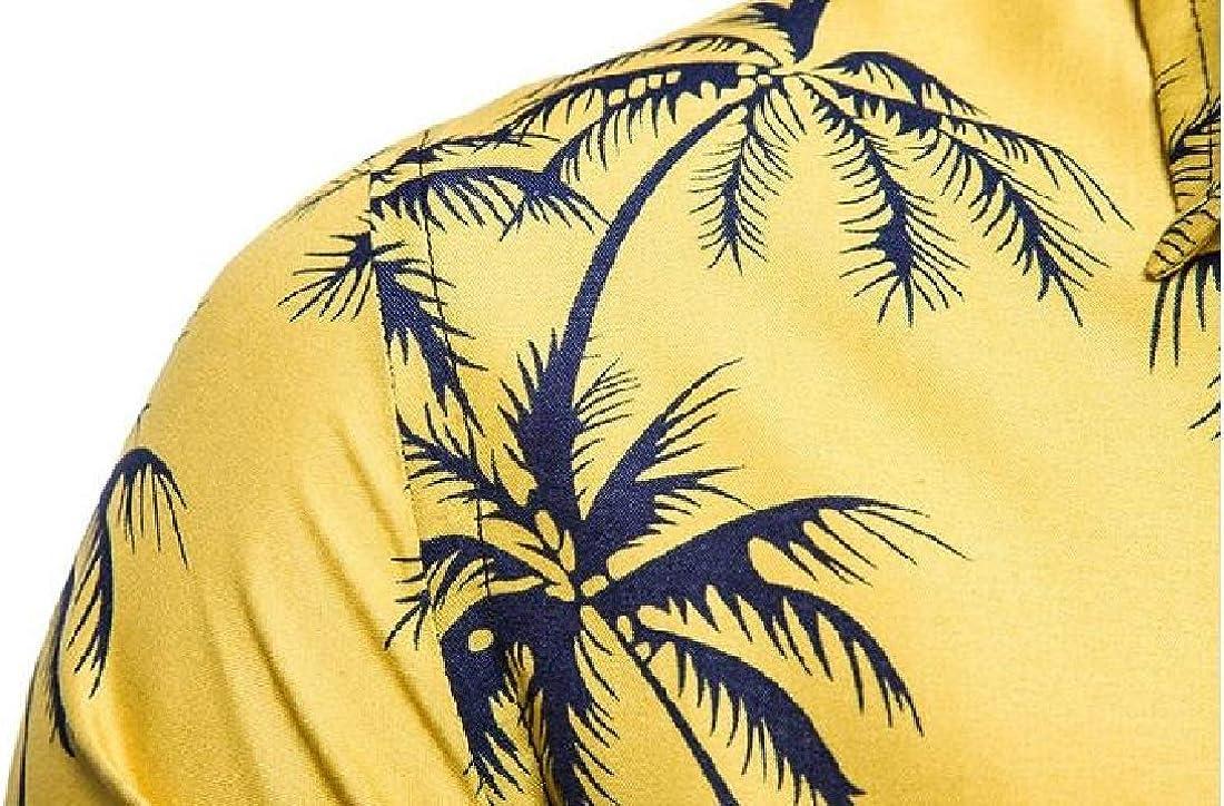 Rrive Mens Shirts Beach Long Sleeve Slim Printed Casual Button Up Shirt Top