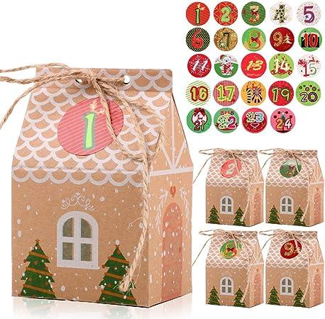 FLOFIA 24 Cajas Cajitas de Caramelos Navidad Kraft Pequeñas Cajas Cartón Forma Casa con Pegatinas Navideñas Número 1-24 para Dulces Regalo Calendarios Adviento Suministro Navidad: Amazon.es: Hogar