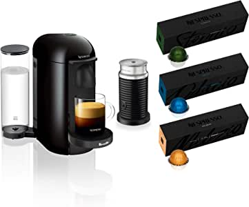 Nespresso VertuoPlus Coffee and Espresso Maker by Breville with Aeroccino, Ink Black AND BEST SELLING COFFEES INCLUDED