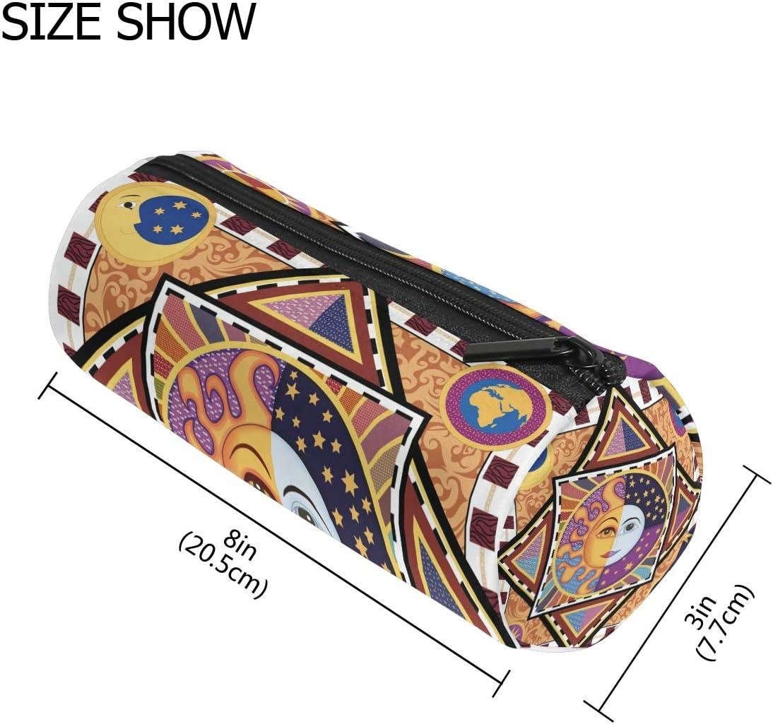 TIZORAX - Estuche étnico para lápices de sol y luna, con cremallera, organizador de monedas, cosméticos, para mujeres, adolescentes, niñas, niños: Amazon.es: Oficina y papelería