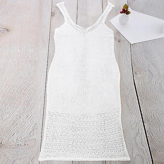 YJYda - Vestido de punto de ganchillo para mujer con cubierta de bikini, casual , S, Blanco: Amazon.es: Deportes y aire libre
