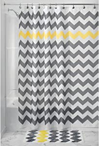 iDesign Fabric Chevron Shower Curtain for Master, Guest, Kids', College Dorm Bathroom, Standard, Gray and Yellow