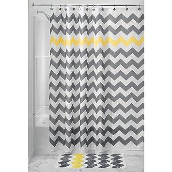 InterDesign Chevron rideau de douche tissu, rideau douche en polyester  facile entretien, rideau baignoire avec œillets renforcés, gris/jaune
