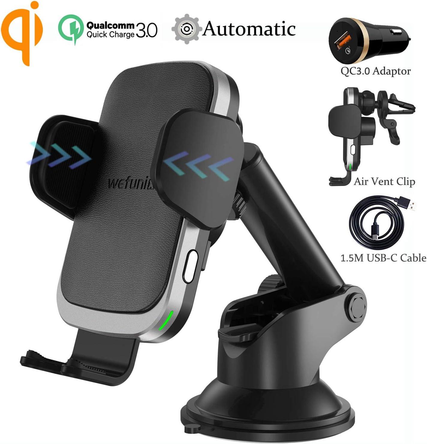 Wefunix Cargador Inalámbrico Coche Carga Rápida Sensor Automatico USB C+Adaptador QC 3.0, 7.5W para iPhone 11 Pro XS Max XR X 8 Plus, 10W para Samsung Galaxy S10 S9 S8 S7 Note 10/9/8/5, Huawei P30 Pro