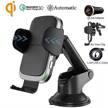 Wefunix Cargador Inalámbrico Coche Carga Rápida Sensor Automatico Quick Charge 3.0 + Adaptador QC 3.0, 7.5W para iPhone XS MAX XR X 8 Plus, 10W para ...
