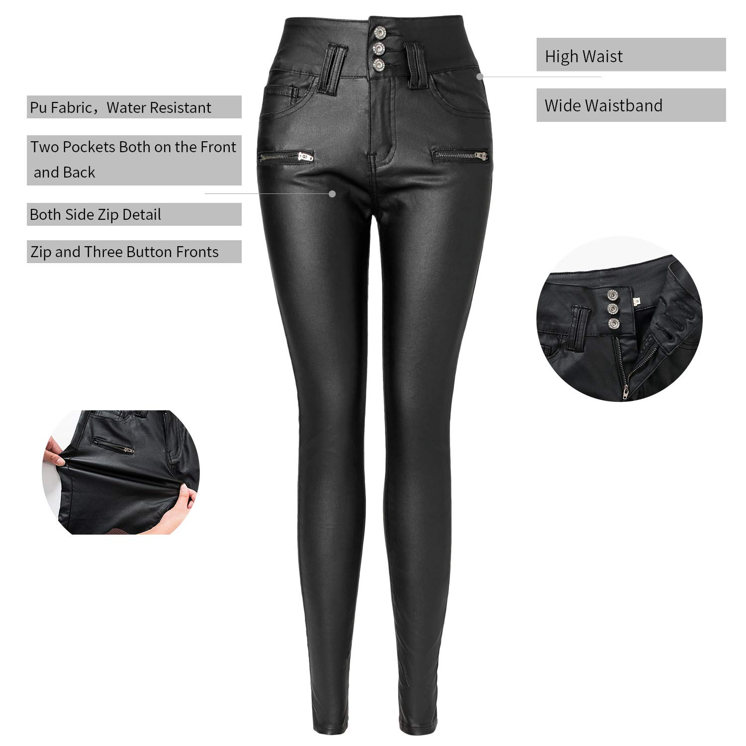 d4fe8e5c893166 Ecupper Womens Black Faux Leather Pants High Waisted Skinny Coated Leggings  Petite/Regular/Tall, 26