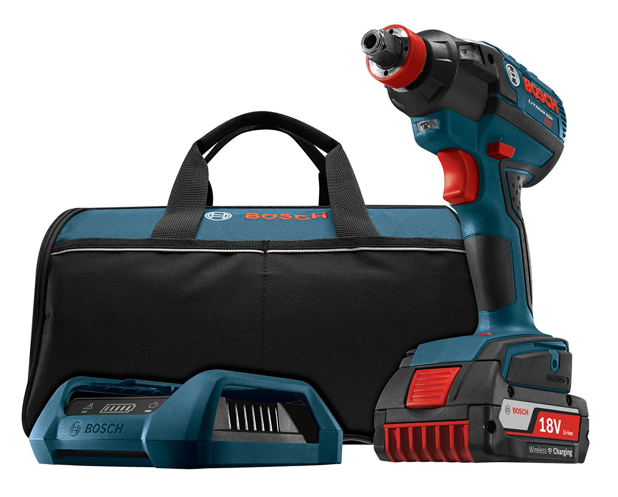 Bosch IDH182WC-102 18-Volt Lithium-Ion Wireless Charging Kit with Brushless Socket Ready Impact Driver, 1 Wireless Battery, Charger and Contractor Bag