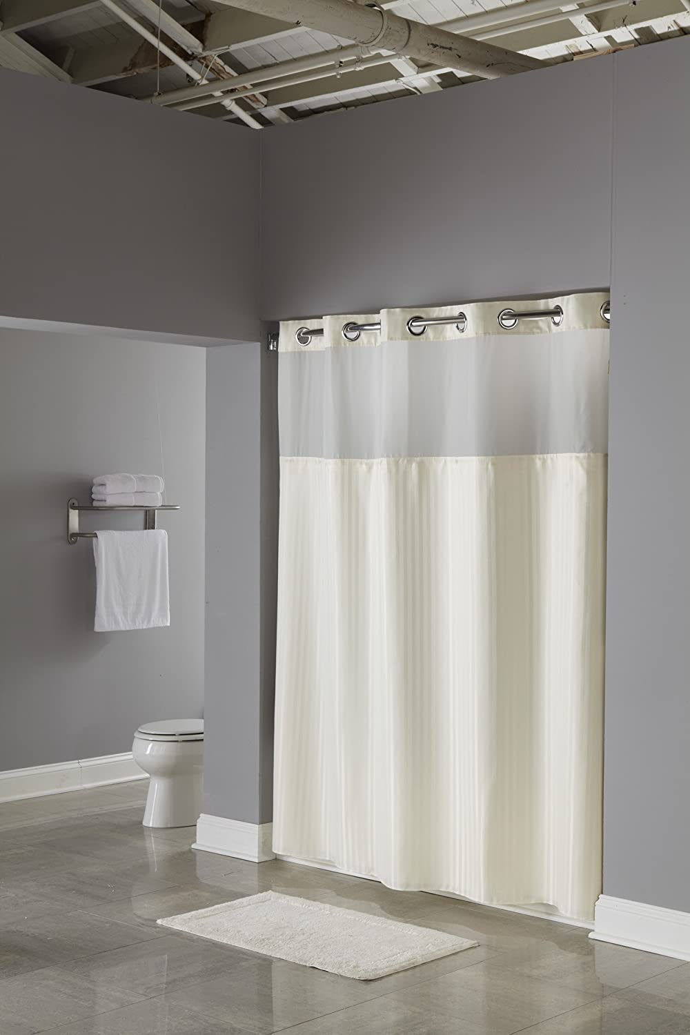 Amazon.com: Hookless RBH53MY307 3-in-1 Shower Curtain, Beige: Home ...