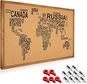 Navaris Cork Board World Map with Frame - 24 x 35 in Push Pin Memo Bulletin Corkboard with Printed Design for Kitchen, Classroom, Home Office, Bedroom