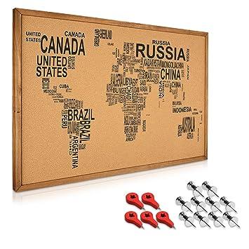 Navaris Tableau D Affichage Liege 90 X 60 Cm Panneau Mural Epingle Drapeau Rouge Bureau Maison Cadre En Bois Design Carte Du Monde