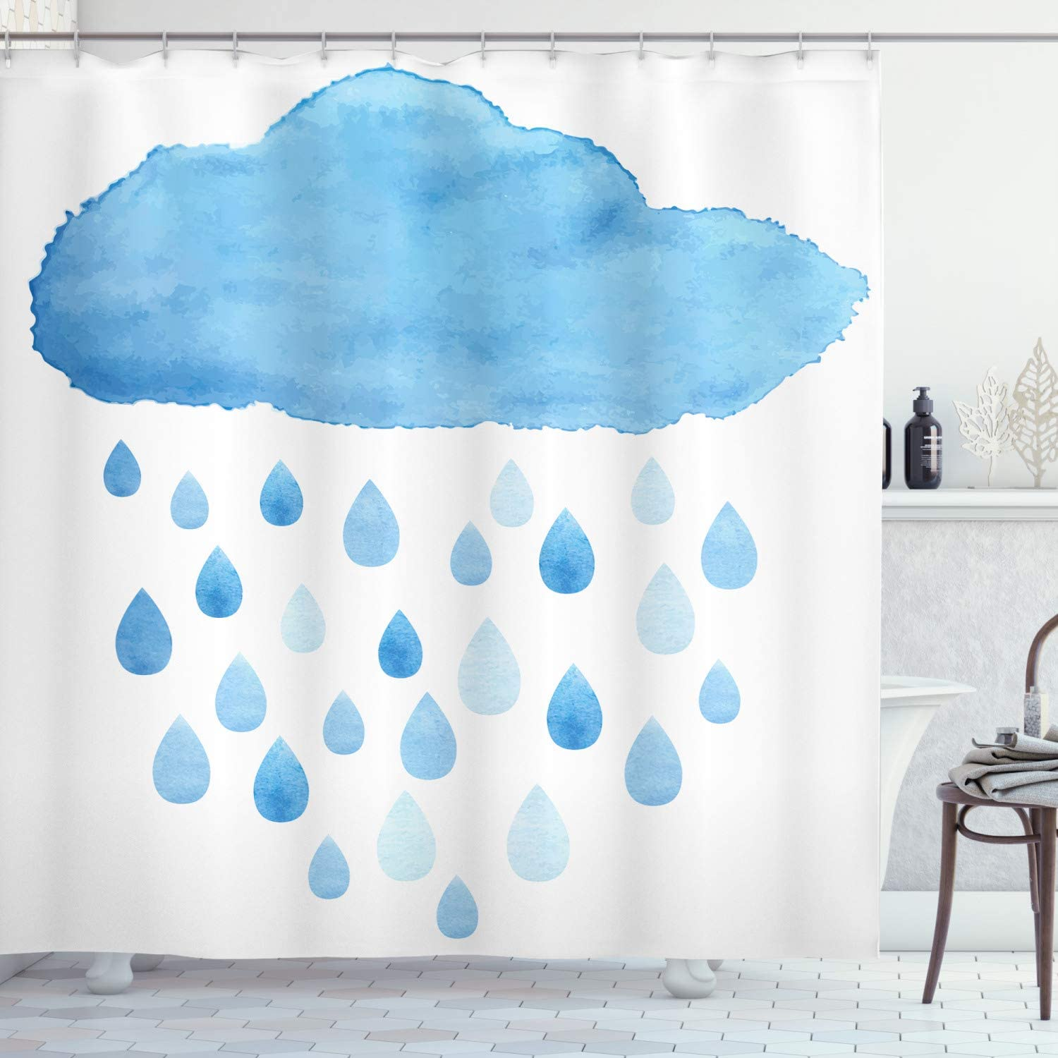 "Ambesonne Nature Shower Curtain, Rain Drops and Cloud in Watercolor Painting Effect Nimbus Fun Art Illustration, Cloth Fabric Bathroom Decor Set with Hooks, 84"" Long Extra, White Blue"