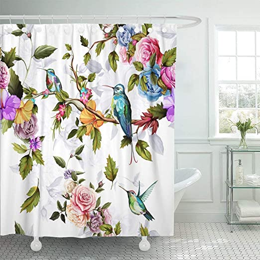 Watercolor Hummingbirds Birds and Palm Leaves Bathroom Fabric Shower Curtain Set