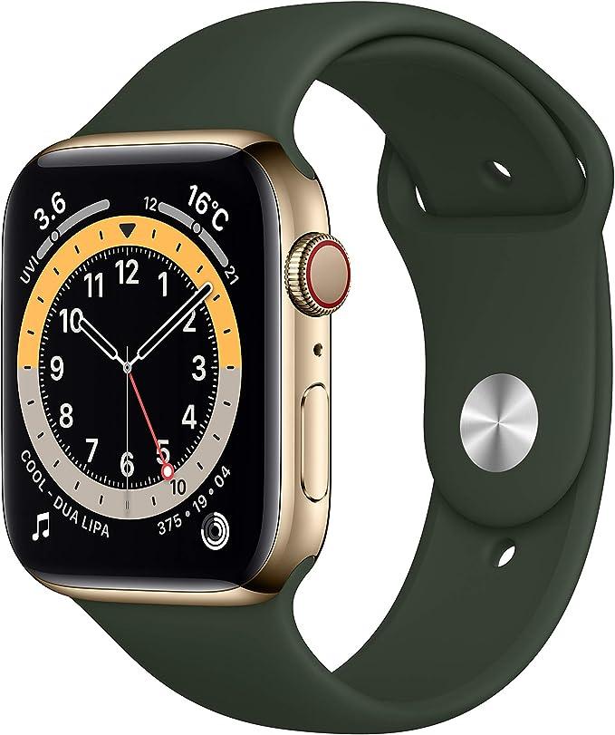最新 AppleWatch Series 6(GPS + Cellularモデル)- 44mmゴールドステンレススチールケースとキプロスグリーンスポーツバンド