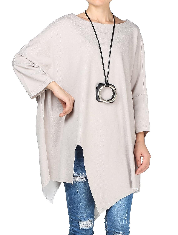 Mallimoda Women's New Plain Asymmetry Plus Size Pullover Tunic Shirt