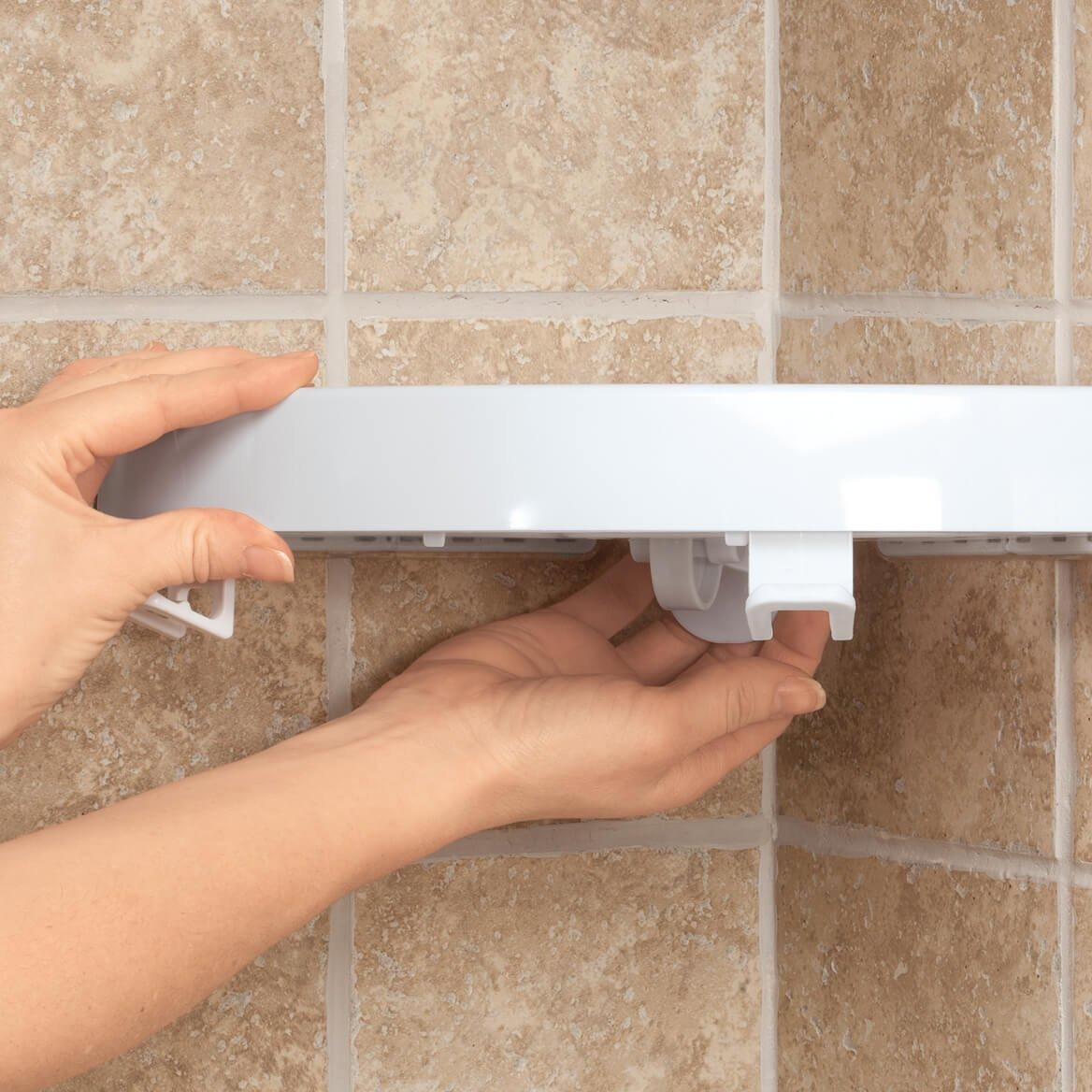 Fox Valley Traders Self Adhesive Corner Shelf Wall Mounted Bathroom Shower Organizer Shelf No Damage to Walls Easy Storage