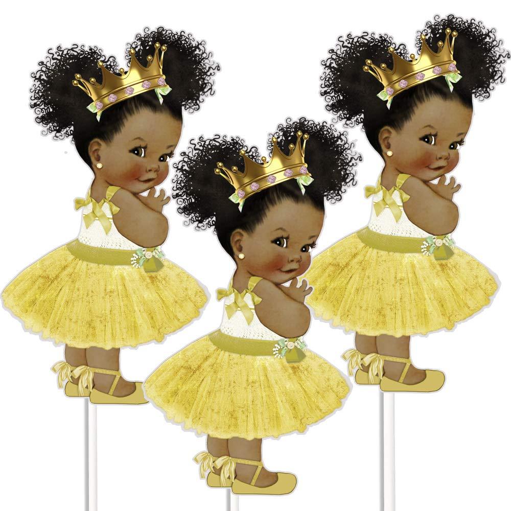 Gold Tutu African American Princess Table Centerpieces