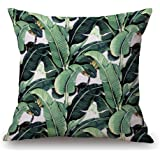 Yumin Tropical Plants Throw Pillow Case Cotton Blend Linen Cushion Pillow Case Square Cushion Cover 18x18 for Sofa,Bedroom,Holiday,Gifts,Home Decor
