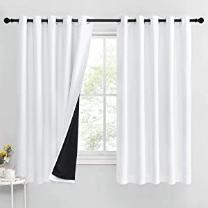 RYB HOME Blackout Curtains & Drapes - Full Light Block Energy Efficiency Window Curtains with Black Liner for Bedroom Living Room Dining,W 70 x L 63, Pure White, 1 Pair