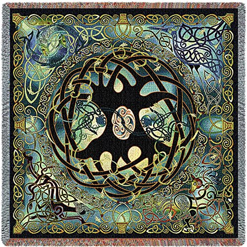 Pure Country Inc. Celtic Tree of Life Tapestry Small Blanket (Hand Woven Tapestry)