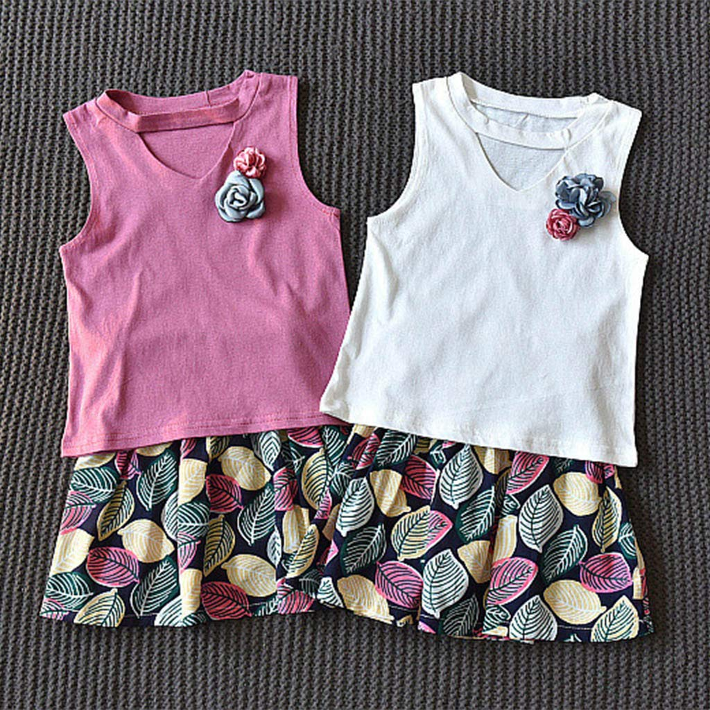 Easter Day Toddler Baby Girl Skirts Clothes Set 2-6 Years Old Kids Hollow Out Vest Tops Leaf Print Skirts Outfits