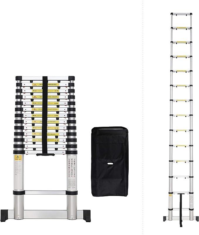 Todeco - Escalera Telescópica, Escalera Plegable - Carga máxima: 150 kg - Número de peldaños: 14-4,1 Metro(s), Bolsa de transporte GRATIS, EN 131-6, Barra estabilizadora, Brecha extra: Amazon.es: Bricolaje y herramientas