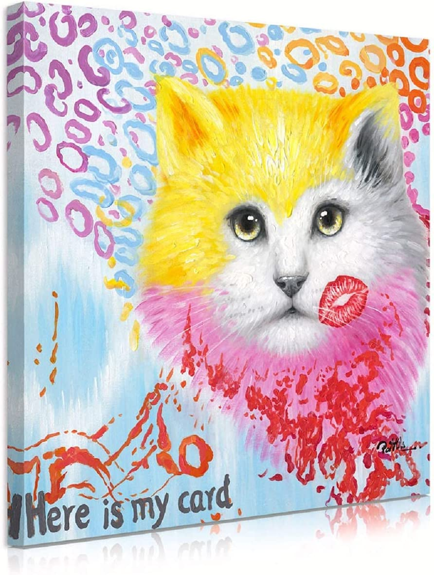 ATELIYISHU Graffiti Canvas Wall Art Cute Cat Head with Pink Kiss Paintings Animal Pictures Prints on Canvas Wall Decor for Women Girl Bedroom Bathroom Home Decoration 12