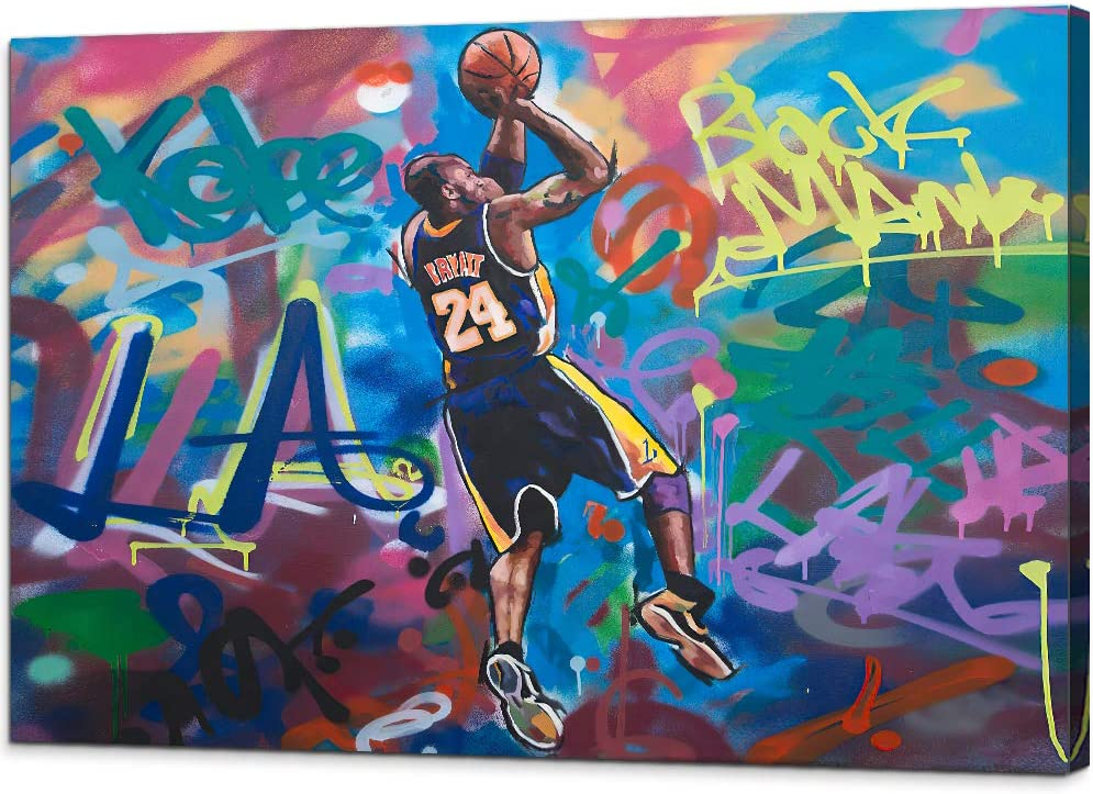 Kobe-Bryant Canvas Graffiti Wall Art Abstract Forever Mamba LA #24 Basketball Home Decor Picture Paintings Mourning Artwork for Living Room Bedroom Decoration Framed Poster Ready to Hang (28'' x 40'')