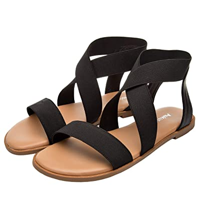 cfa4dd21b83 Women s Wide Width Flat Sandals - Elastic Ankle Strap Gladiator Open Toe  Casual Comfortable Summer Shoes