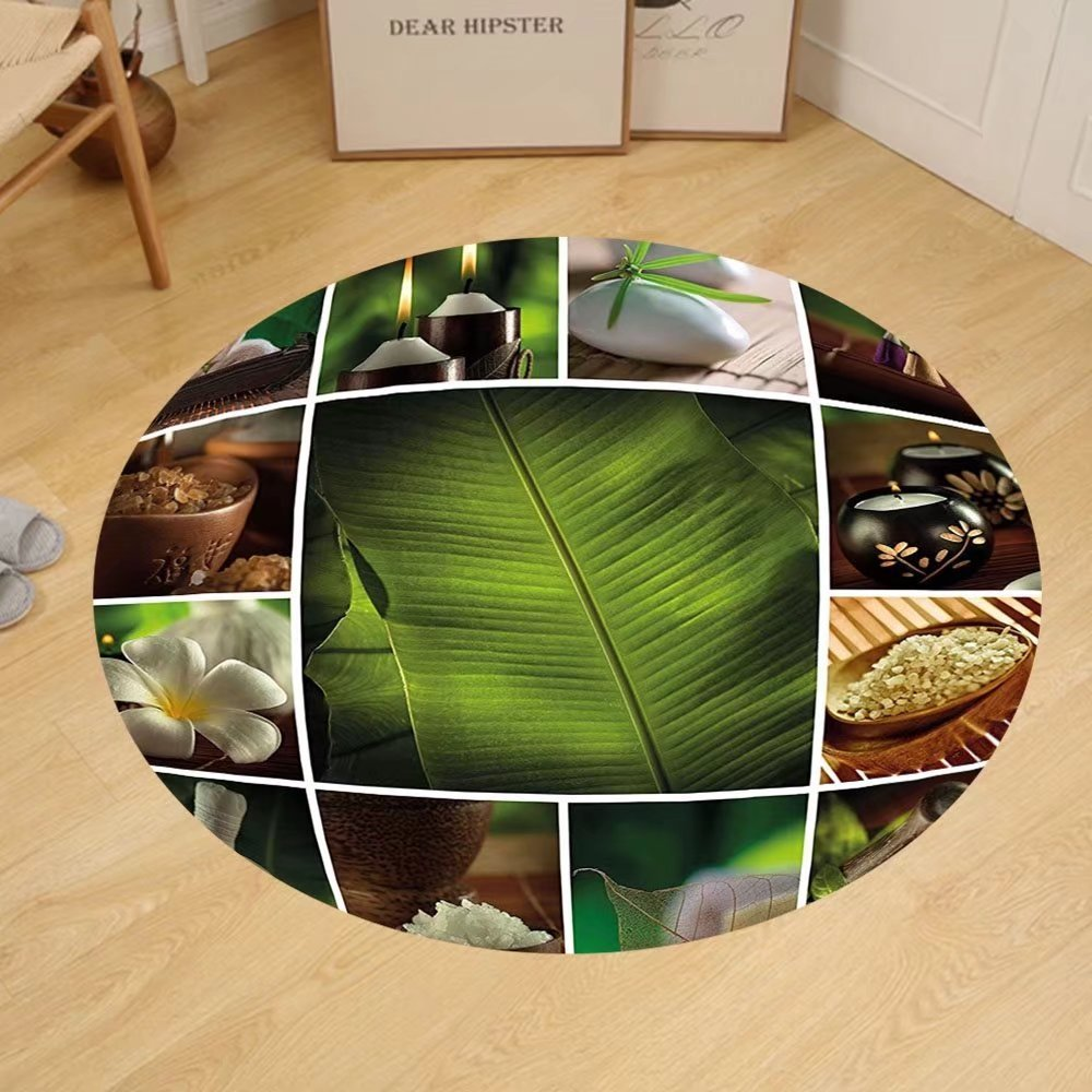 Gzhihine Custom round floor mat Spa Decor Collage of Candles Stones Herbal Salts Towels and Botanic Plants Print Bedroom Living Room Dorm Green White and Brown