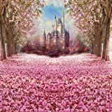 Muzi Photography Backdrop Fairy Tale Castle Beautiful Pink Woods Children Princess Girls Photo Booth Backdrop Studio Props with Flowers on the Floor in Spring 8x8ft W-314