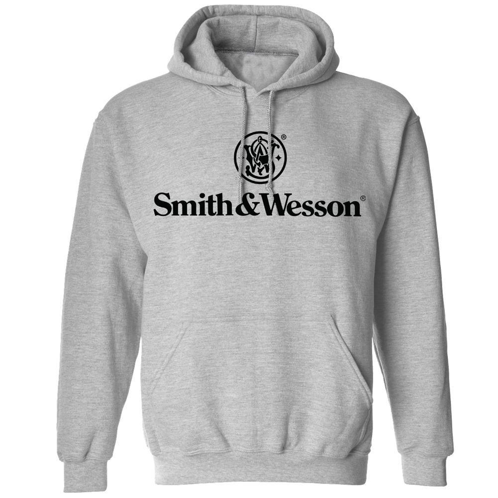 Smith and Wesson Men/'s Solid Logo/ Long Sleeve Cotton Hooded Sweatshirt