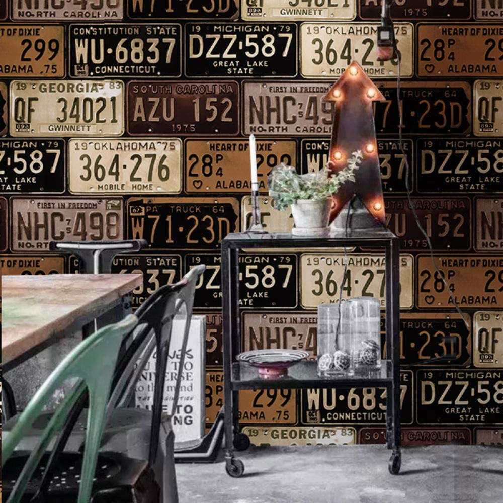 Huzi style industriel 3D Pvc papier peint plaque dimmatriculation de voiture plaque de fer vinyle r/étro papier peint bar restaurant Ktv fond 1 M2Customizable
