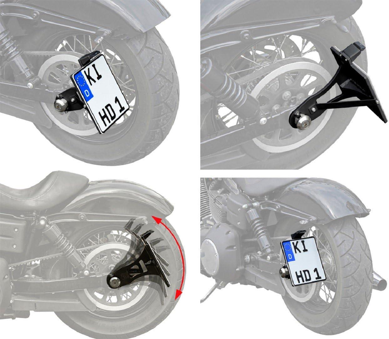 avec barre chrom/ée bross/ée. Mat/ériau ABS plastique noir pour scooter, cyclomoteur, tracteur, remorque, moto non peint 1 support de plaque dimmatriculation fabriqu/é en UE 240 x 130 mm 24 x 13 cm