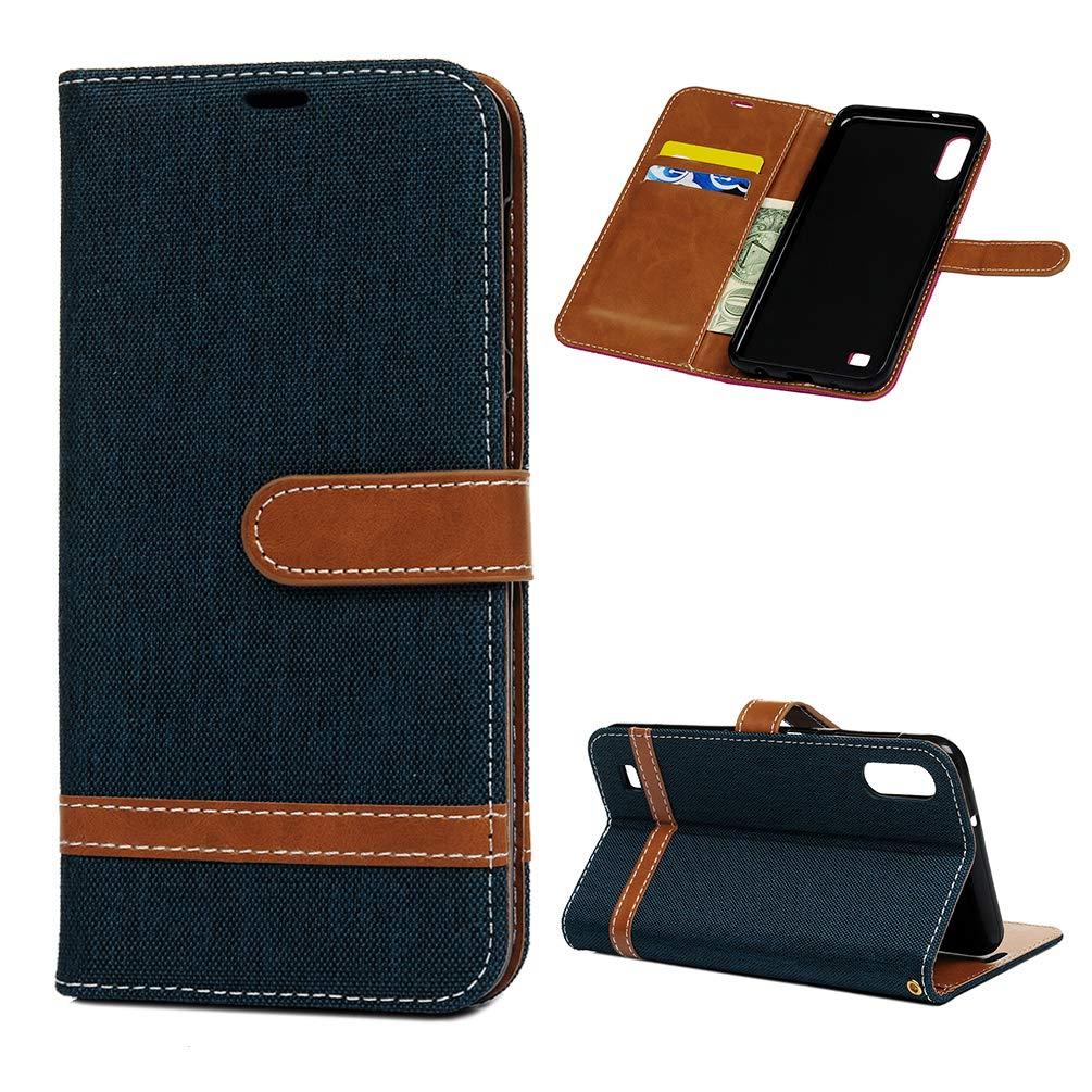Einfarbiger Flip PU Leder Handyh/ülle Klappbares Brieftasche Schutzh/ülle Stand Wallet Case Cover Tasche mit Karteneinschub Dunkelblau MLorras H/ülle f/ür Samsung Galaxy A10