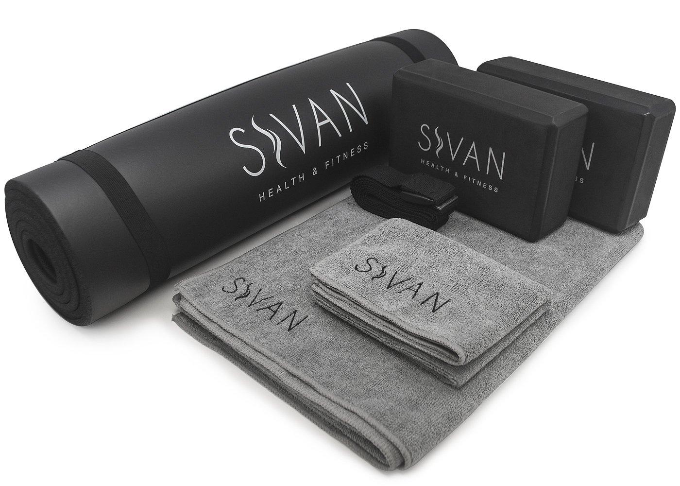 Sivan 6-Piece Yoga Set- Includes 1/2'' Ultra Thick NBR Exercise Mat, 2 Yoga Blocks, 1 Yoga Mat Towel, 1 Yoga Hand Towel and a Yoga Strap (Black)
